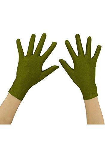 Ensnovo Adult Wrist Length Spandex Full Finger Stretchy Short Gloves Army Green, M