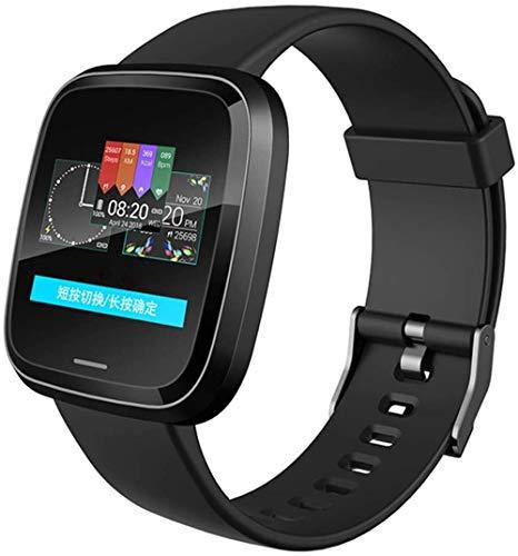 Reloj inteligente ultraligero, deportivo, inalámbrico, Bluetooth, con monitor de ritmo cardíaco, monitor de sueño, contador de calorías, para hombres y mujeres, color negro