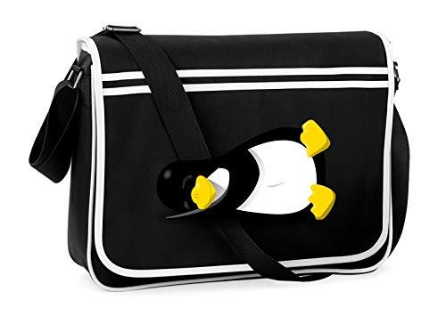 Druckerlebnis24 Schultertasche - Pinguin Linux Schlafen Tier - Umhängetasche, geeignet für Schule Uni Laptop Arbeit