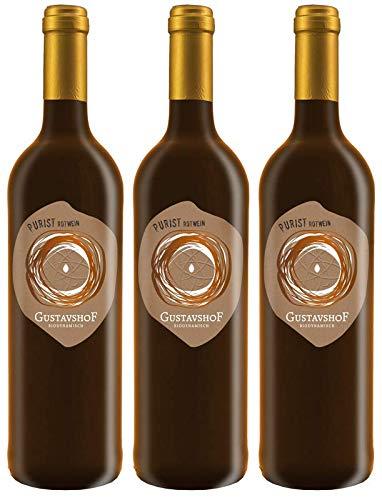 Weingut Gustavshof: 3 Flaschen Der Purist. Ein Cabernet Bio-Rotwein, Demeter zertifiziert, ungeschwefelt