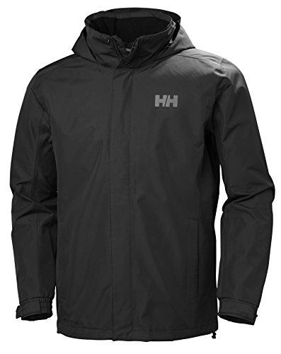 Helly Hansen Men's Dubliner Waterproof Windproof Breathable Rain Coat Jacket, 990 Black, Large