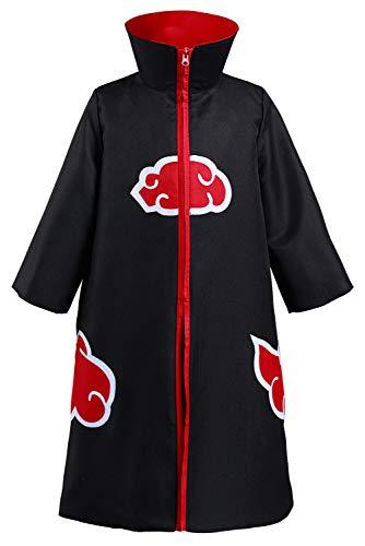 Generic Akatsuki Kinder Kids Stehkragen Reißverschluss Mantel Halloween Karneval Anzug Cosplay Kostüm Schwarz XL
