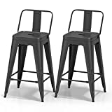 "VIPEK 24 Inches Metal Counter Bar Stools Dining Chairs Bar Counter Stools Set of 2 Mid Back Side Chairs 24"" Height Barstool Patio Bar Chairs Home Kitchen Dining Stool Bistro Cafe, Matte Black"