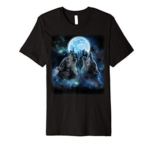 Graue Wölfe heulen in der Vollmondnacht, Wolf - T-Shirt