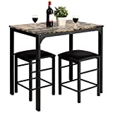 Giantex 3 Pcs Dining Table and Chairs Set with Faux Marble Tabletop 2 Chairs Contemporary Dining Table Set for Home or Hotel Dining Room, Kitchen or Bar (Beige & Black)