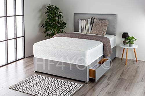Home Furnishings UK Linos Divan Bed Set with a Memory Sprung Mattress and Matching Headboard (No Drawers) (3FT Single, Silver)
