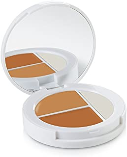 Sheer Cover Studio – Conceal and Brighten Highlight Trio – Two-Toned Concealers – Shimmering Highlighter – Tan/Dark Shade – With FREE Concealer Brush – 3 Grams