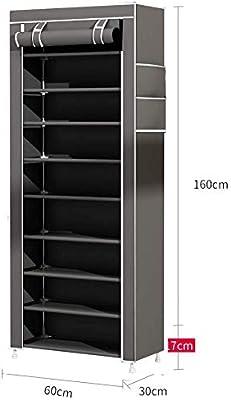 Pkge - Scarpiera a torre resistente, con 10 ripiani, 60 x 30 x 160 cm, con copertura antipolvere per contenere fino a 30 paia di scarpe (grigio)
