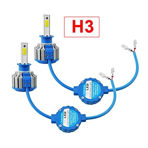 ETbotu 2 stuks H3 6000 K 48W 5200LM Car LED-koplampen COB chip lamp auto kop met ventilator