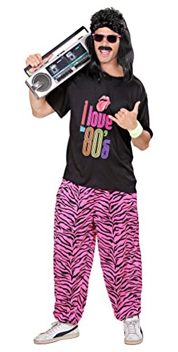 Karneval-Klamotten 80-er Jahre Kleidung Herren-Kostüm New Kids Assi Proll Kostüm 80s T-Shirt inkl. Zebra Jogginghose