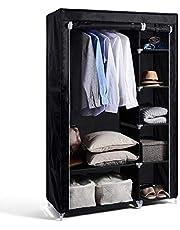 Hododou Przenośna szafa z podwójną szafą organizer do przechowywania z wiszącą szyną składana szafa na ubrania, torby, zabawki, buty, salon, sypialnia 175 x 110 x 45 cm