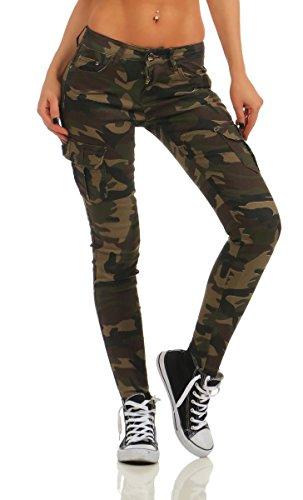 OSAB-Fashion 11418 Damen Jeans Röhrenjeans Hose Stretch-Denim Röhre Damenjeans Cargostyle