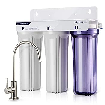 iSpring US31 Classic 3-Stage Under Sink Water Filtration System for Drinking Tankless High Capacity Sediment + Carbon + Carbon  Newest Version