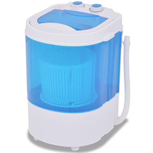 Festnight Mini Lavadora con 1 Tambor - Color de Azul y Blanco Material de Plástico 2,6 kg