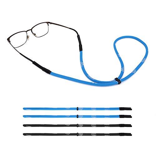 MoKo Correa de Gafas Ajustables, [4 Pack] Retenedor de Gafas de Sol Deportivas Universales con Tiras, Gafas de Sol de Unisexo para Todos - Negro y Azul