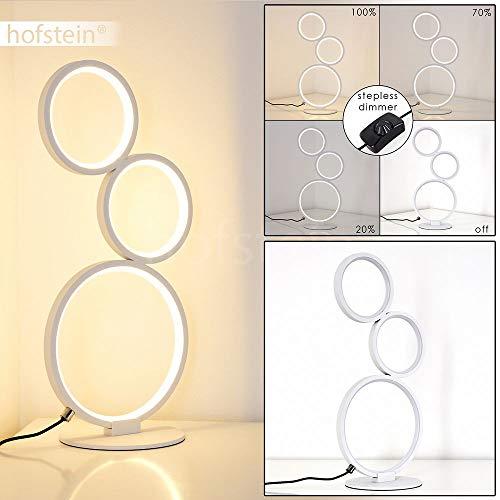 LED Tischlampe Rodekro, dimmbare Tischleuchte aus Metall in Weiß, 17 Watt, 1500 Lumen, Lichtfarbe 3000 Kelvin (warmweiß), gemütliche Nachttischlampe stufenlos dimmbar über das Kabel