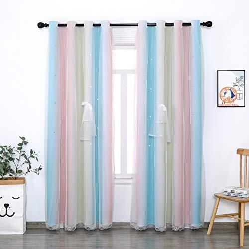 Cortinas opacas para niños, 132 x 243 cm, 2 paneles, diseño de estrellas de encaje arcoíris para dormitorio, sala de estar, colorida cortina de doble capa para ventana de estrellas