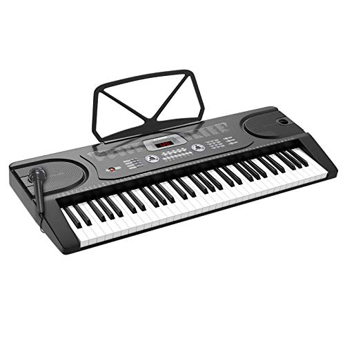 LAGRIMA LAG-300 61 Key Portable Electric Keyboard Piano with Built In Speakers, LED Screen, Microphone, Dual Power Supply, Music Sheet Stand for Beginner (Kid & Adult) Black