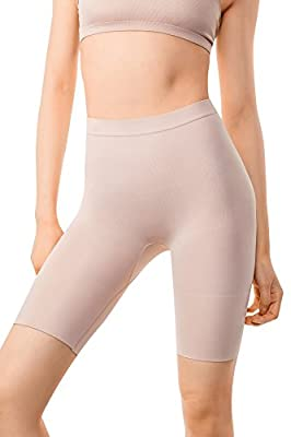 +MD Women's Tummy Control High Waist Plus Size Shapewear Panties Mid Thigh Rear Lifting Shaper Slimmer Power Shorts XLarge Nude