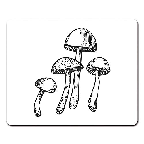Onete Mouse Pads Cartoon Narcotic Psychodelic Mushroom Psilocybin Engraving Raster Scratch Board Style Imitation Black and White Clip 9.5
