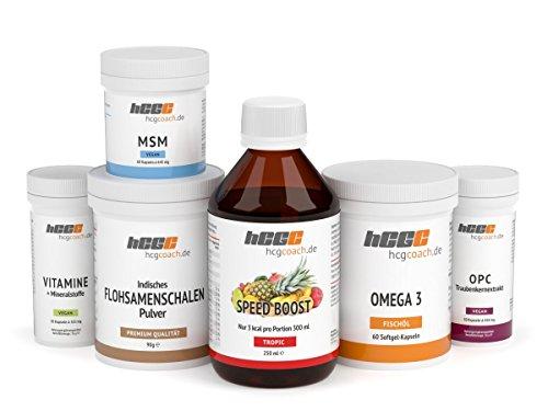hCGC® Das Original Stoffwechselkur Basispaket | Nahrungsergänzungsmittel für 30 Tage | Zuckerfreies Getränkekonzentrat | Anleitung für die Stoffwechselkur + Rezepte | (SpeedBoost Tropic)