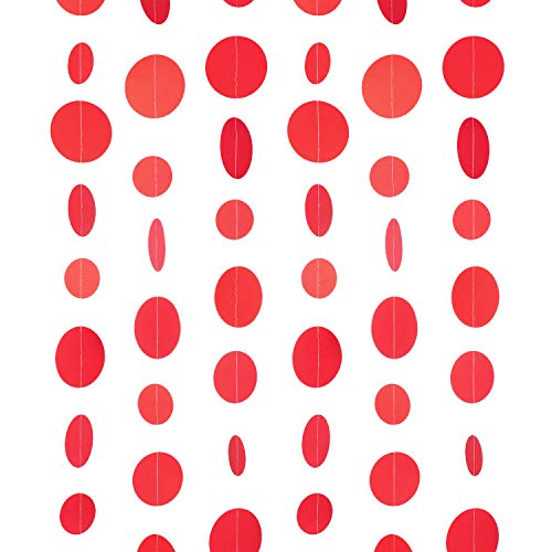 WEVEN Red Paper Garland Circle Dot Party Banner Wall Streamers Backdrop Ceiling Hanging Decorations, 20 Feet in Total