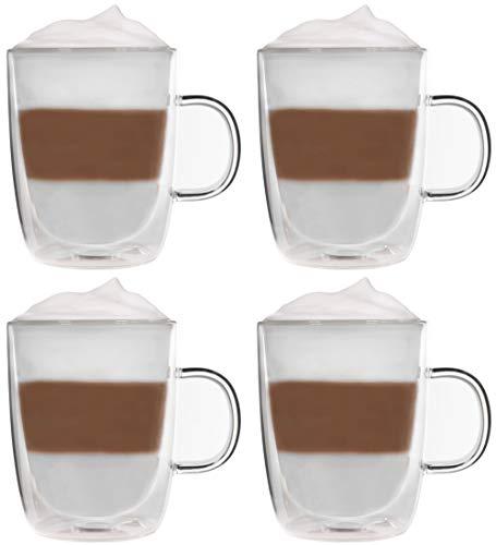 Snobby 4X 360ml doppelwandige Tassen/Thermotassen/Glastassen/Teetassen/Kaffeetassen mit Schwebeeffekt by Feelino