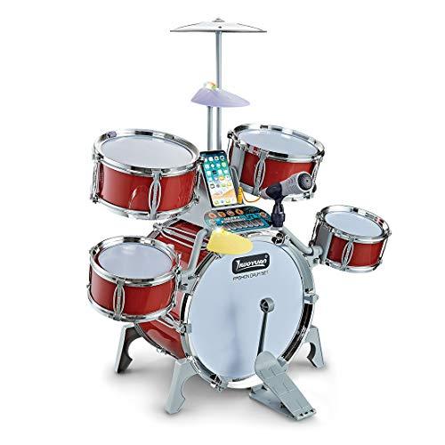 LuoKe Rock Band Jazz Drum Set Instrumentos de percusión Kit de batería Músicas Juguetes educativos Festival Regalo para niños Niños Principiante