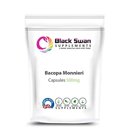 Black Swan Bacopa Monnieri Supplement - with Anti-Oxidant Properties - Stress and Anxiety - Support Healthy Cognitive Function and Blood Pressure Level - Made in UK - 500mg Veggie Capsules (120 caps)