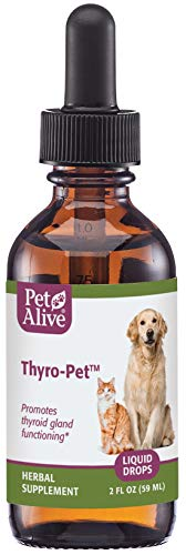 PetAlive Thyro-Pet - All Natural Herbal Supplement Promotes Normal Thyroid Gland Functioning in Dogs and Cats - Helps Address Common Hypothyroidism Symptoms in Pets - 59 mL