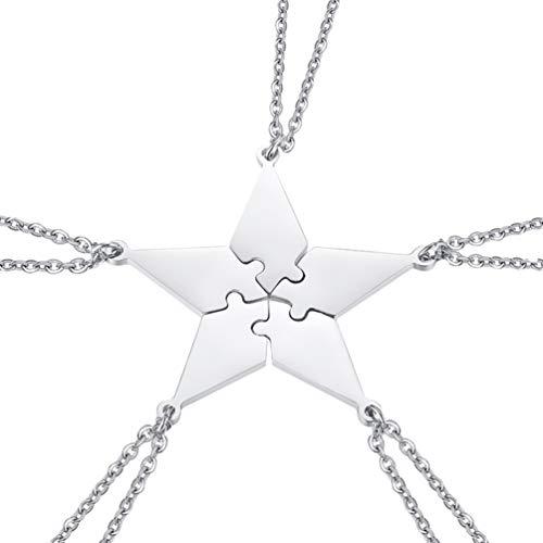 Holibanna Colar de quebra-cabeça de 5 peças, estrela de cinco pontas, melhor amigo, casais, pingente, chaveiro, para mulheres, homens, amizade BFF (prata)