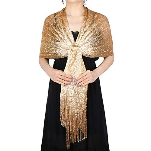 KAVINGKALY Hilo de seda metálico brillante para mujer Pashmina suave Bufanda de chales grandes y abrigos para vestidos de noche (dorado (con hebilla dorada))
