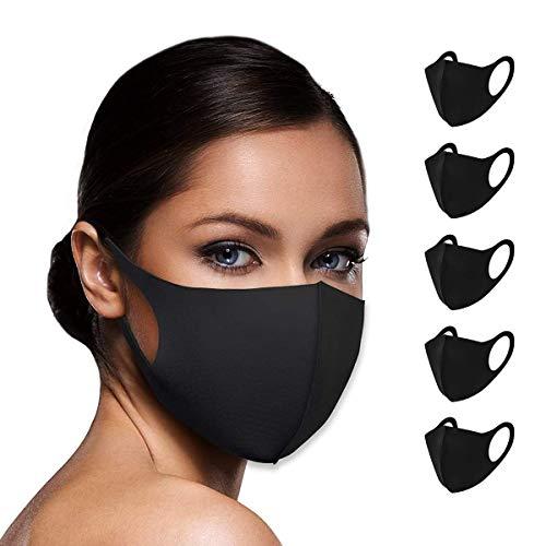 Sacrifice Now Masque Tissu lavable Single Layer 100% Masque Unisexe Masques Tissus Reutilisables pour Adultes, Enfants, Hommes et Femmes [Noir - Lot de 5]