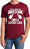 This is What an Awesome Uncle Looks Like, Funny T Shirt for Men, Humor Joke T-Shirt Tee Gifts Burgundy Heather Small