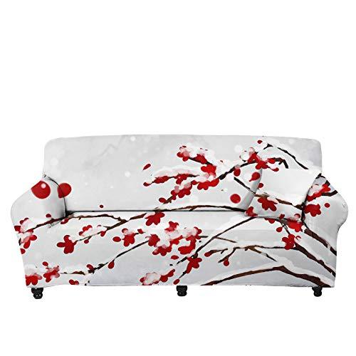 Woisttop Plum Blossom - Funda elástica para sofá de 3 plazas de...