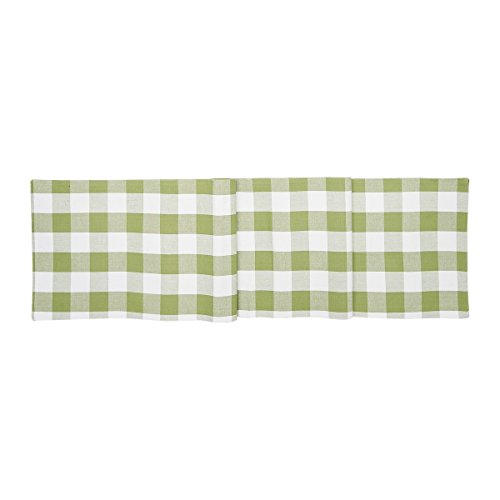 C&F Home Franklin Buffalo Check Gingham Plaid Woven Tarragon Green and White Cotton Table Cotton Machine Washable Runner Table Runner Tarragon