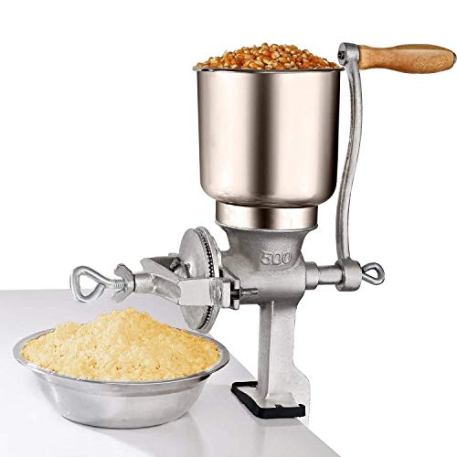 Manual Crank Grain Mill, Hand Corn Food Coffee Grinder Useful Kitchen Tool with Big Hopper, Table Clamp – Adjustable for Corn, Wheat, Oats, Nut, Herbs, Spices, Seeds Grinder – Great for Restaurants, Commercial Kitchens, Bakery, Home Cook