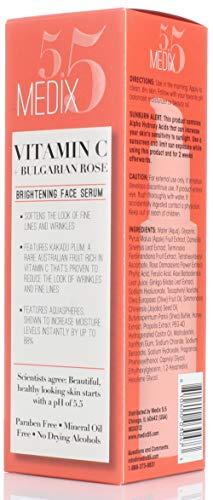 41ppZ P2xqL - Medix 5.5 Vitamin C Cream & Vitamin C Serum Two Piece Set. Anti-Aging Vitamin C Set with Vitamin E & Turmeric for Brightening, Dark Spots, Discoloration, and Sun Damaged Skin. 15oz Cream + 2oz Serum.