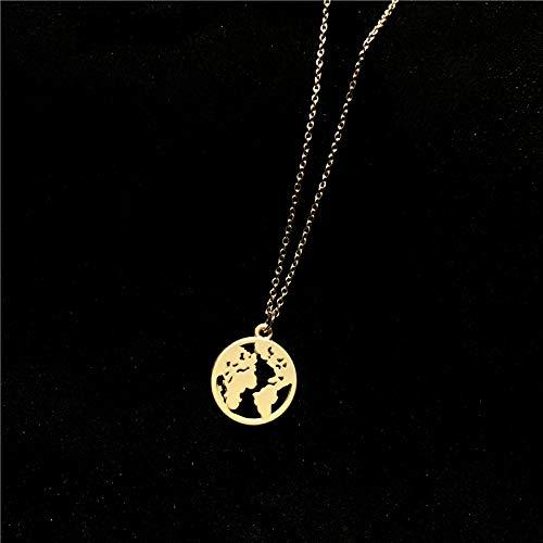 DADATU Temperamento Coreano Extremadamente Simple Hueco Redondo Oro Mapa Moneda Collar Cien Conjunto Primavera Nueva Personalidad collarea Cadena Chica