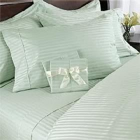 Why Choose Prime Linens 7 pc Green (Sage) Damask Stripe Olympic Queen Size Bed Sheet-Duvet Cover She...