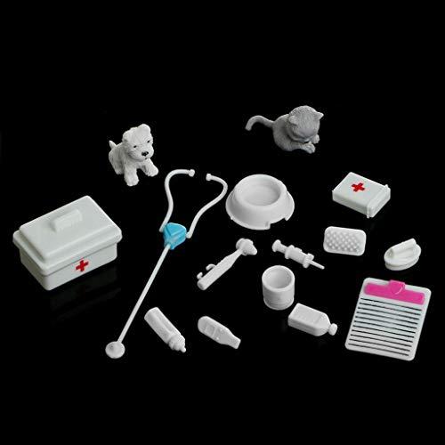 lijun Set von 14 Stück Medizintechnik Box Doctor Nurse Tools Spielzeug-Kit für Barbie-Puppe