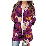 NHNKB Cárdigan - Disfraz de Halloween para mujer, chaqueta larga y fina, bolero para otoño, cárdigans abierto, sudadera con capucha, chaqueta de hombro, camiseta informal, Sty3-e, M