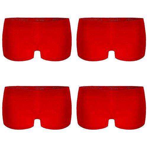L&K-II 4er Pack Damen Boxershorts Panties in Rot GR. L/XL Unterwäsche Hot Pants