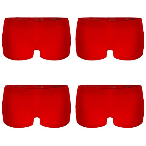 L&K-II 4er Pack Damen Boxershorts Panties in Rot GR. S/M Unterwäsche Hot Pants