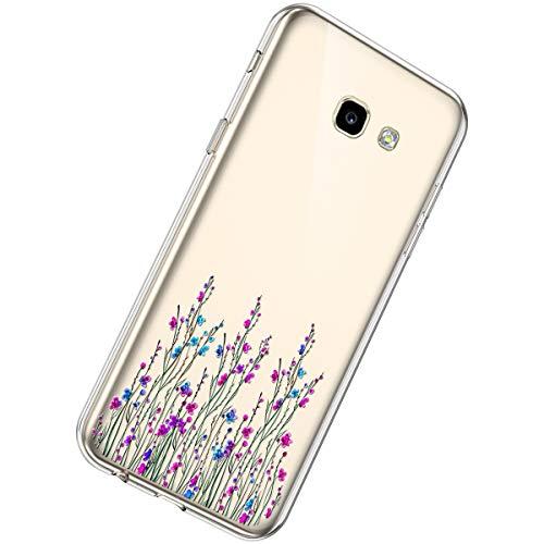 Herbests Compatible avec Samsung Galaxy A3 2017 Coque Transparente Ultra Mince Souple Flexible Silicone Etui Housses Liquid Crystal Légère Case TPU Case Peint Motif de Fleur Cover,Pourpre