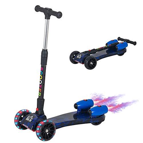 HOMCOM Patinete para Niños Scooter Plegable con Altura Ajustable de 4 Niveles y Música Luces y Nebulizador de Agua +3 Años 61x26x63-81 cm Azul
