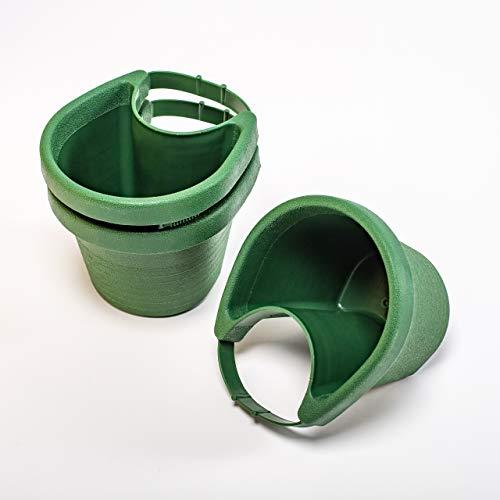 UPP Pot de Fleurs pour gouttière jusqu'à 10 cm de diamètre I Couleur Vert I Lot de 3 pièces I Aménagement du Jardin I Accessoire de Jardin I 3 Jardiniere Exterieur Suspendu