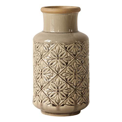 Kleine vaas Reliëf retro keramische vaas decoratie woonaccessoires Amerikaanse keramische bloemen hoge en lage vaas Decoratieve vaas (Size : Medium)