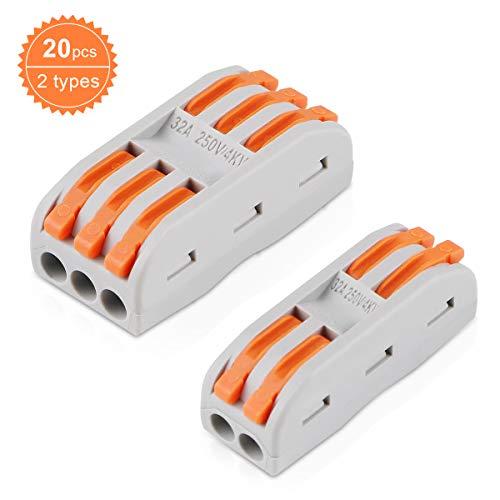 20 Stück Verbindungsklemme Lever Nuts Set, Kompakten Steckklemmen Push Kabelverbinder Sortiment Schnell Klemmenblock Spleißverbinder