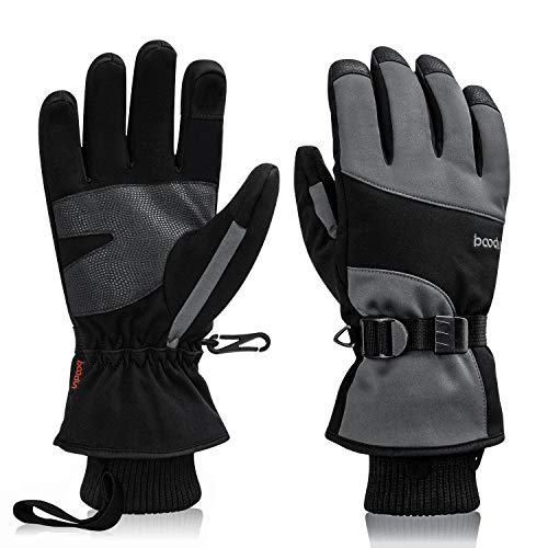 Ski Gloves Waterproof Winter Warm Snowboard Gloves,Winter Gloves for Men Women Ski Thermal Gloves Snowboard Fleece Warm Snow Cold Weather Gloves for Skiing Hiking Hunting Fishing (black/gray, L)